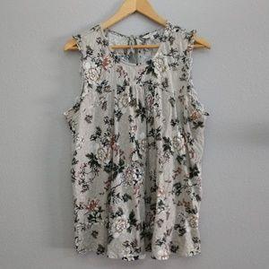 Lucky Brand 1X gray floral tassel blouse